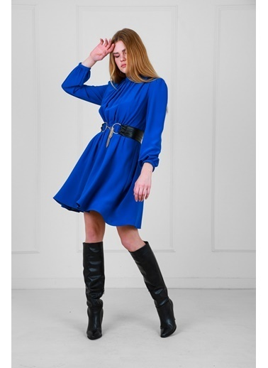 JEANNE D'ARC Deri Kemerli Uzun Kollu Yakadan Büzgülü Elbise  Mavi